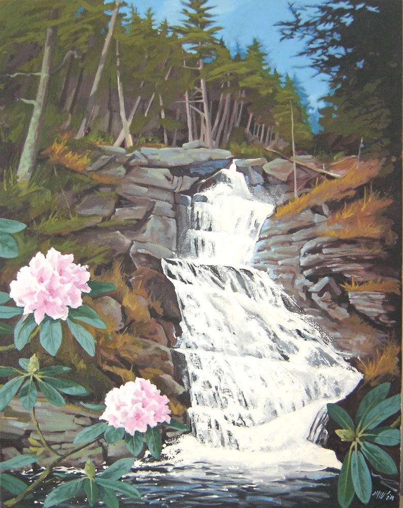 painting of Raymondskill Falls